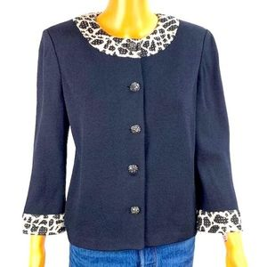 St. John Evening Animal Print Trim Black Cardigan